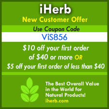 iHerb new customer offer coupon code VIS856: $10 off your first order of $40 or more or $5 off  your first order of less than $40